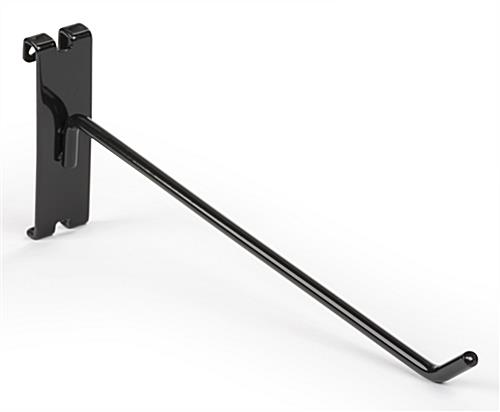 "Angled tip 10"" black gridwall single stem hook"