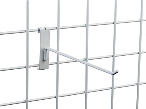 "Glossy 10"" white wire grid panel single stem hook"