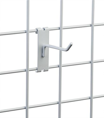 "Angled tip 4"" white wire grid panel hook"