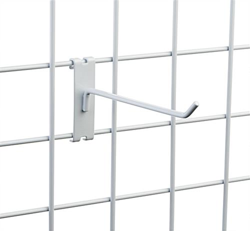 "Angled tip 8"" white wire grid panel display hook"