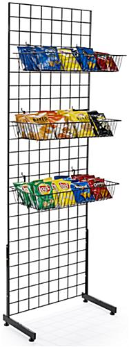 "Black Gridwall ""L"" Stand Basket System for Non-Hanging Merchandise Display"