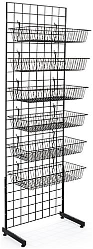 "Black Gridwall ""L"" Stand Basket System with 6 Accessories Per Unit"