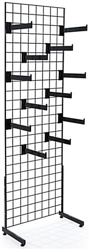 "Black Gridwall ""L"" Stand Faceout System with 24 Total Hooks"