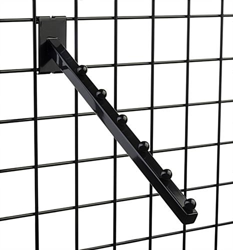 "Black Gridwall ""L"" Base Waterfall Display Set with 6 Hanger Stoppers"