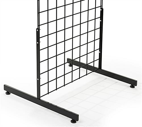 Glossy black gridwall T base rectangular tube