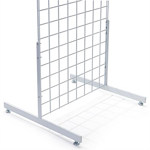 Double sided white rectangular tube gridwall T base
