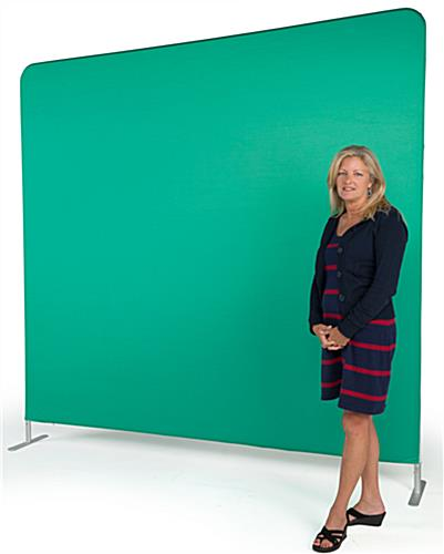 Chroma key fabric backdrop with model