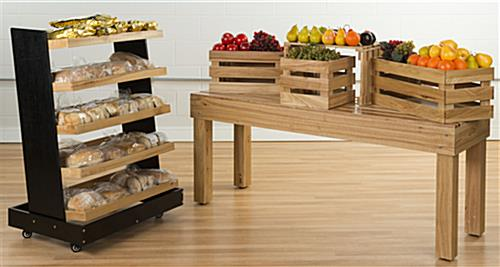 Wooden Stacking Tables in a Grocery Store Setting