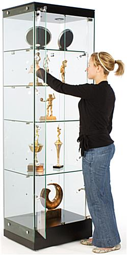 Glass Tower Cabinet with Height Adjustable Shelves