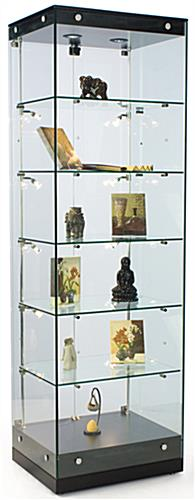 Glass Tower Cabinet with Frameless Design
