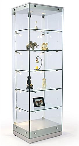 Glass Cabinets W Halogen Lighting Silver Mdf