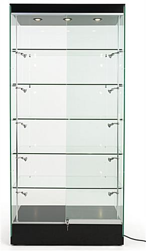 Modern glass display cabinet with black base