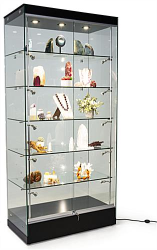 "Modern glass display cabinet with 36"" height"