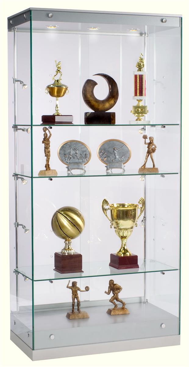 award display case framless glass design silver finish. Black Bedroom Furniture Sets. Home Design Ideas