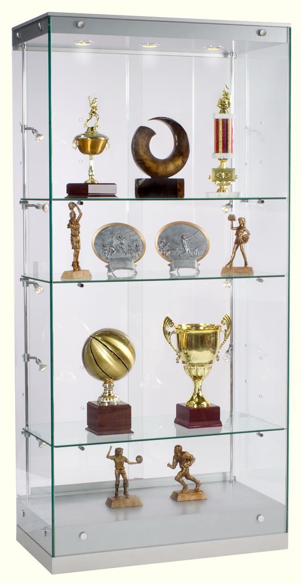 Award Display Case Framless Glass Design Silver Finish