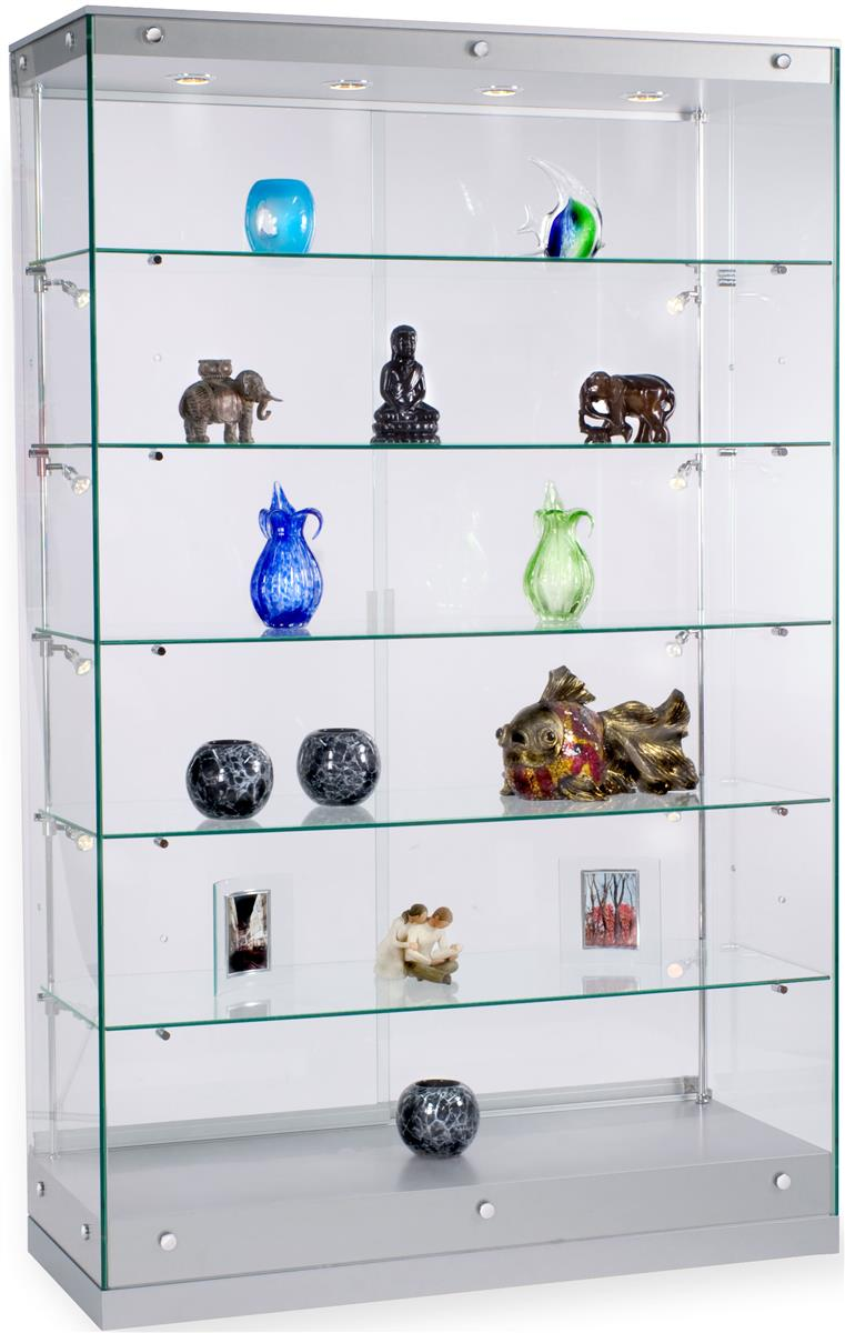 Glass Display Cabinet Showcases: Silver Painted Display Showcases