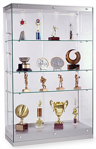 Award Display Case Silver Painted Finished Trophy Cabinet