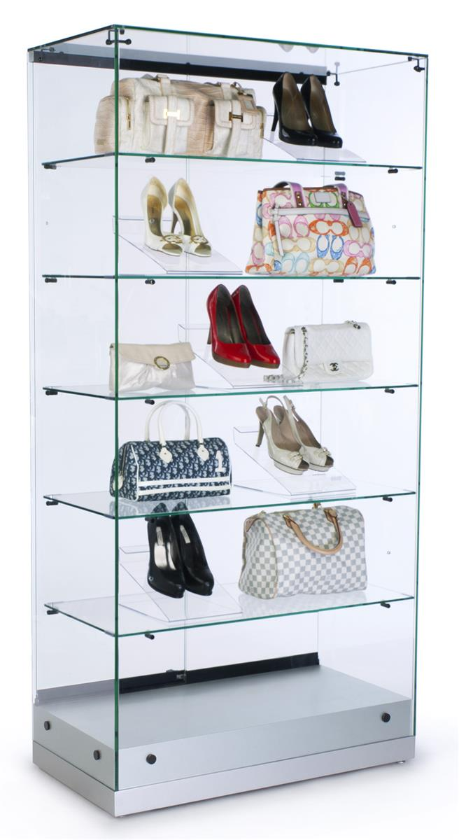Glass Canopy Display Case Silver Case W O Lighting