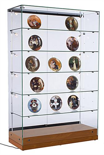 Glass Curio Display Case with Adjustable Shelves