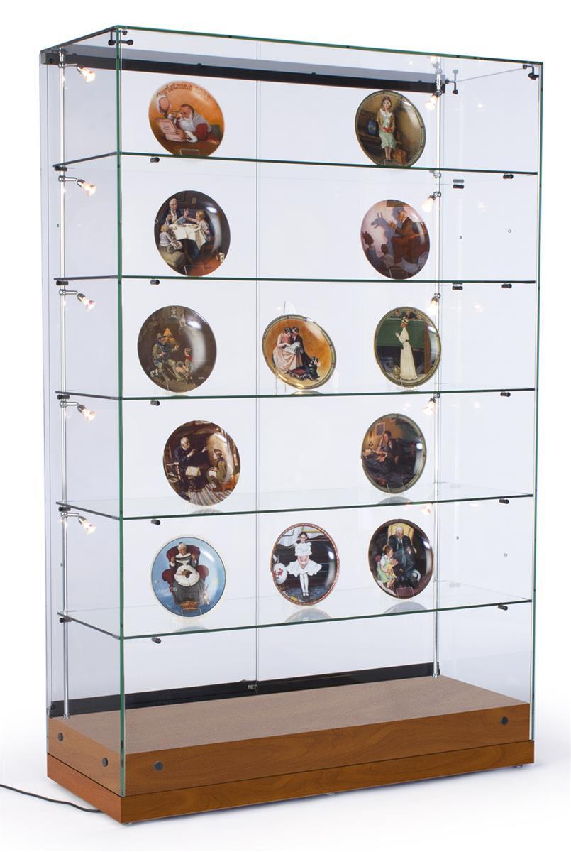 Vertically Lit Display Case Illuminated Glass Cabinet