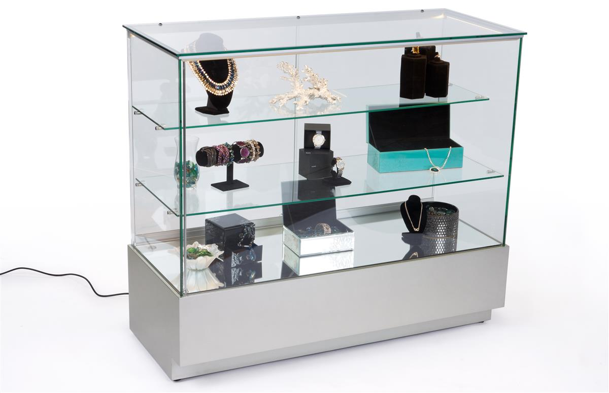 Led backlit jewelry display case full vision for Jewelry displays