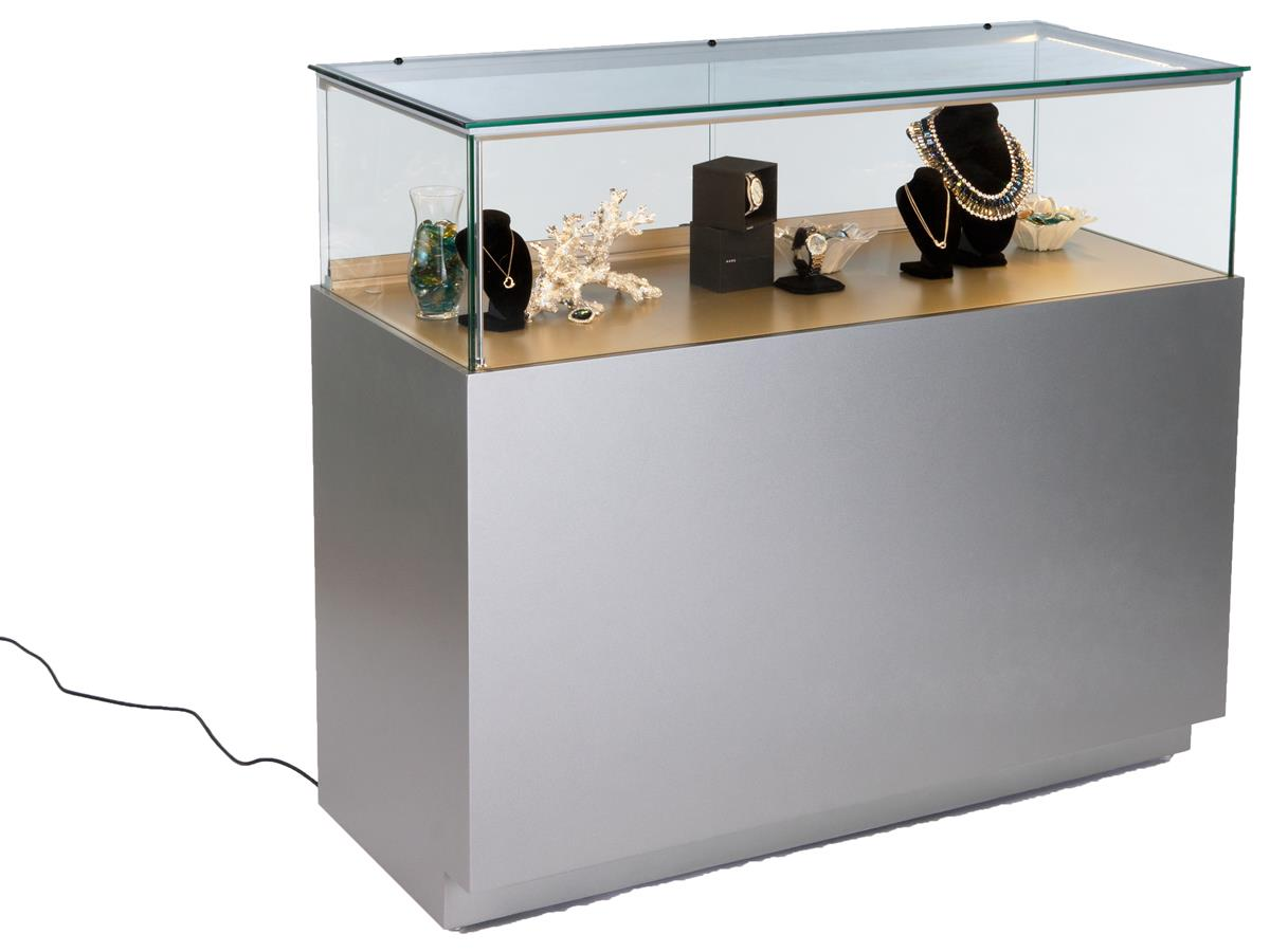 Jewelry Display Counter With Led Lights Quarter Vision Case