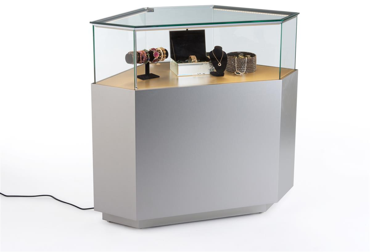 Led Lit Display Case For Jewelry For Upscale Retail Store