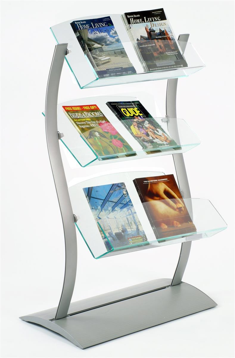 Exhibition Literature Stand : Catalog stand modern tiered literature holder