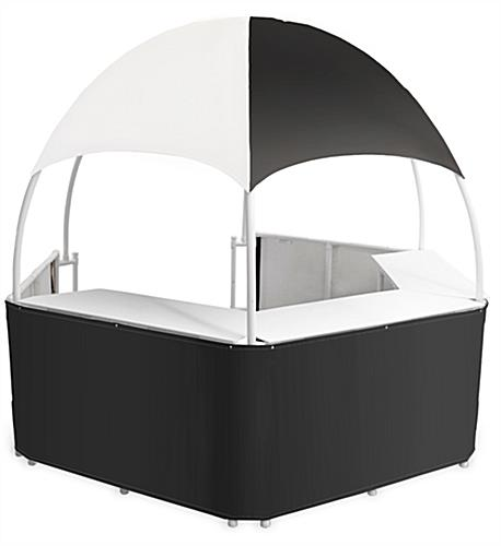 Black/White Dome Kiosk with Storage Space