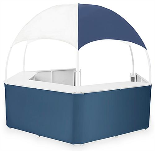 12u0027 Blue/White Gazebo Kiosk  sc 1 st  Displays2go & Blue/White Gazebo Kiosk | Vinyl Booth Skirt u0026 Canopy