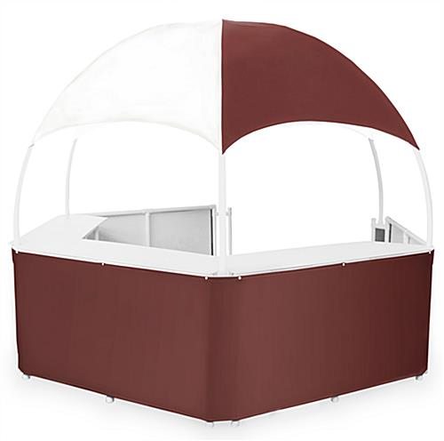 12' Burgundy/White Gazebo Kiosk
