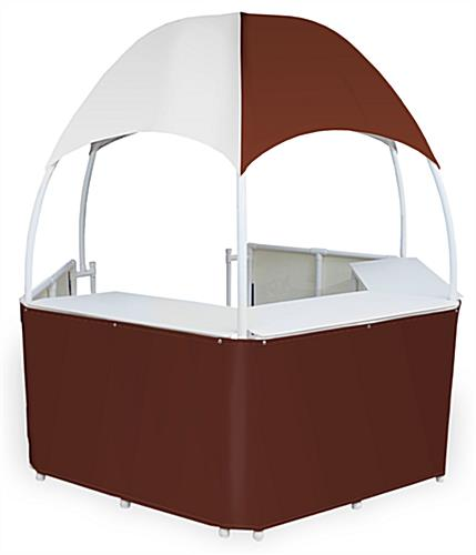 8.5' Wide Burgundy/White Dome Kiosk