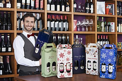Pre-printed cardboard wine carrier with UV digital printing