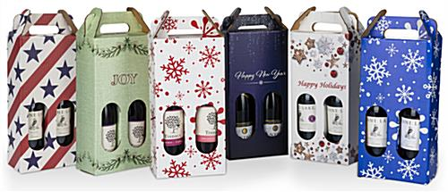 Six pre-printed cardboard wine carrier
