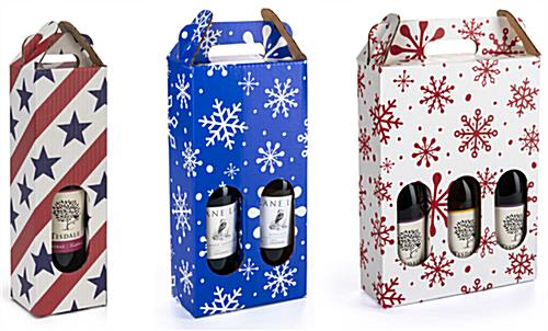 Pre-printed cardboard wine carrier with six available designs