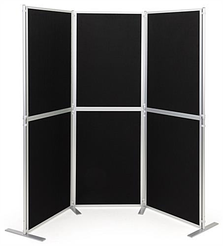 Folding portable backdrop panels with six individual hook-and-loop panels