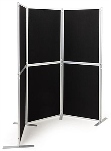 Folding portable backdrop panels with hook-and-loop receptive fabric