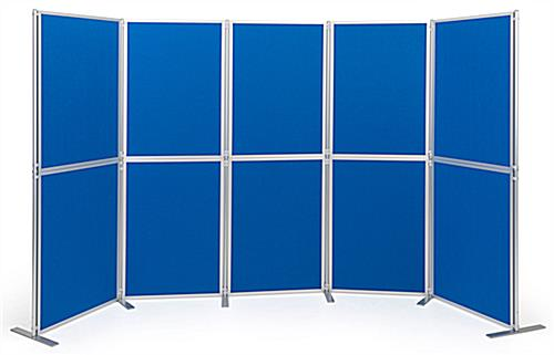 Light blue clip and pole exhibit panel system
