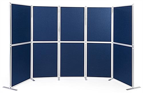 Dark blue clip and pole exhibit panel system