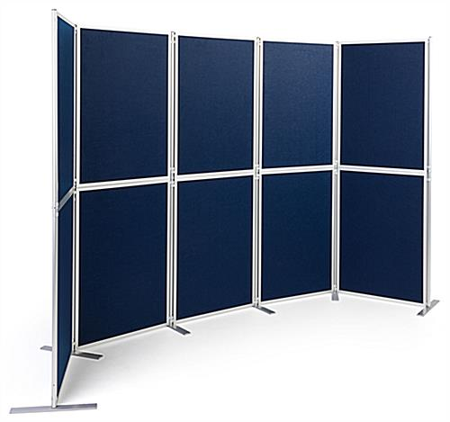 Clip and pole exhibit panel system with contemporary silver finish