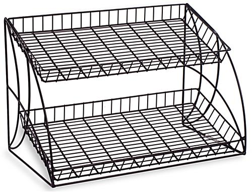 Wire Metal Rack With Two Open Space Design Shelves. Black Countertop Wire Metal Rack    2  Shelving Tiers