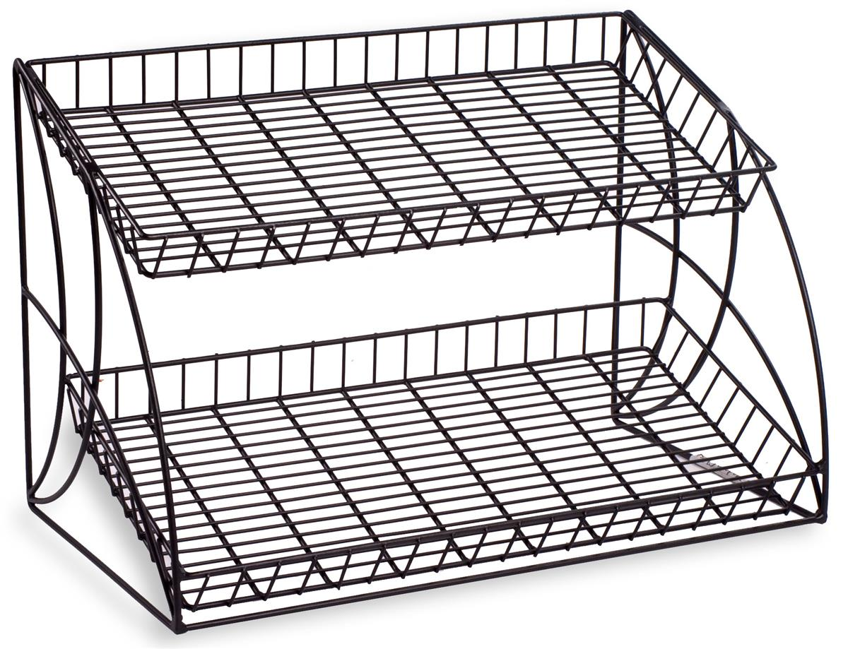 Black Countertop Wire Metal Rack | (2) Shelving Tiers