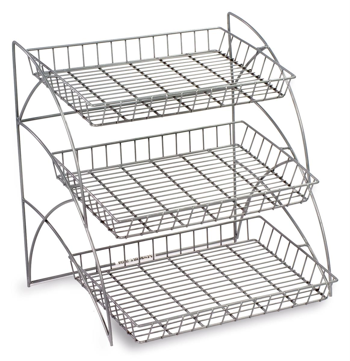 3 tiered wire rack display tabletop 18 w open shelves silver