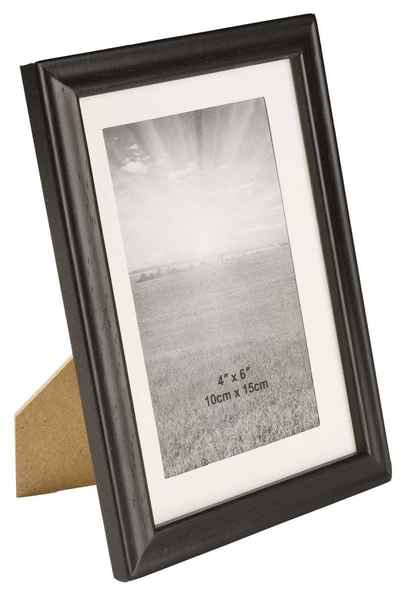"Black Wood Picture Frame for 7/"" x 5/"" Photo/'s inc Glass Stand or Wall mount"