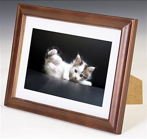 5 x 7 wooden picture frames w walnut finish white mat. Black Bedroom Furniture Sets. Home Design Ideas