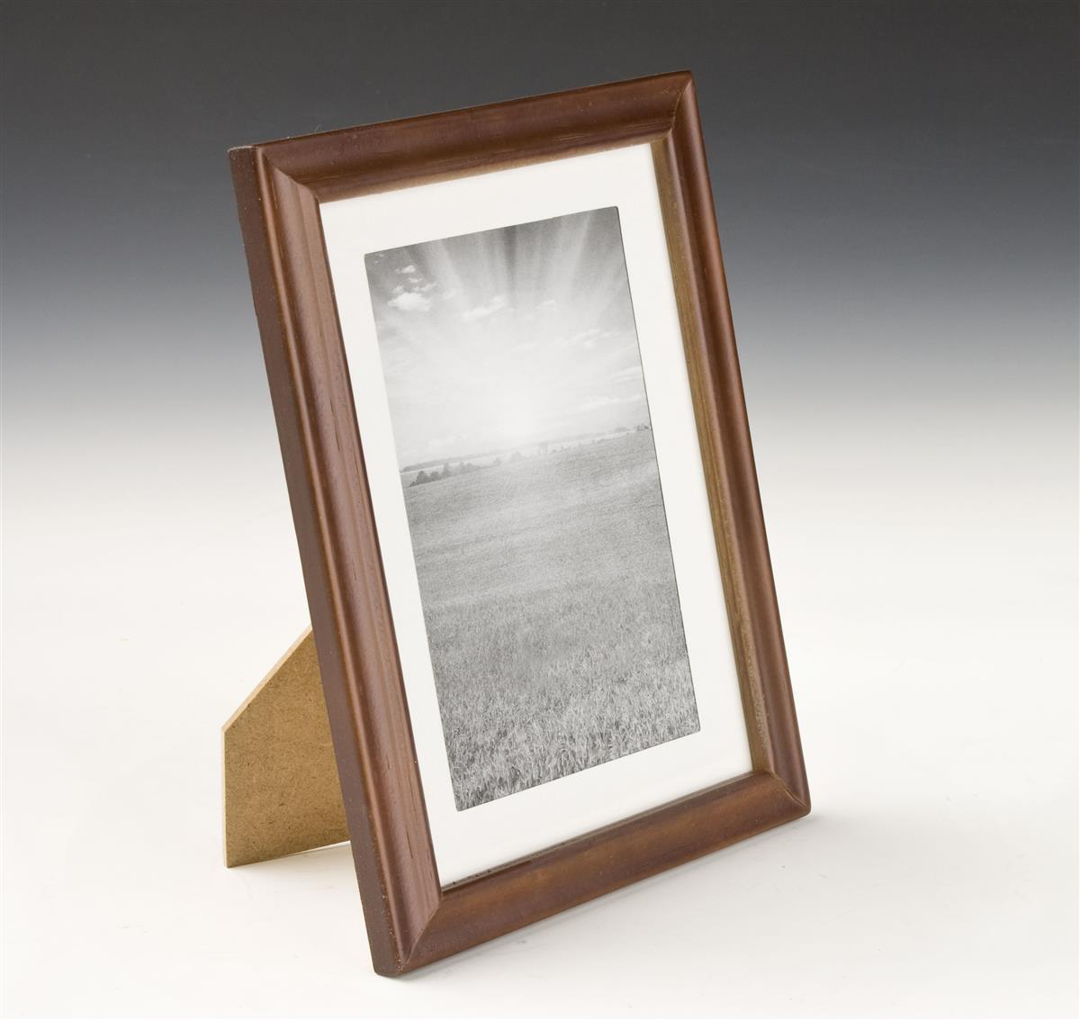 5 x 7 Wooden Picture Frames w/ Walnut Finish & White Mat