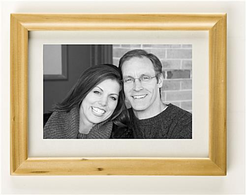 "Wood Picture Frame Has White Accent Matting To Enhance 5"" x 7"" Photos"