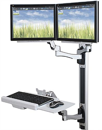 Adjustable Wall Desk with Dual Monitor Mounts
