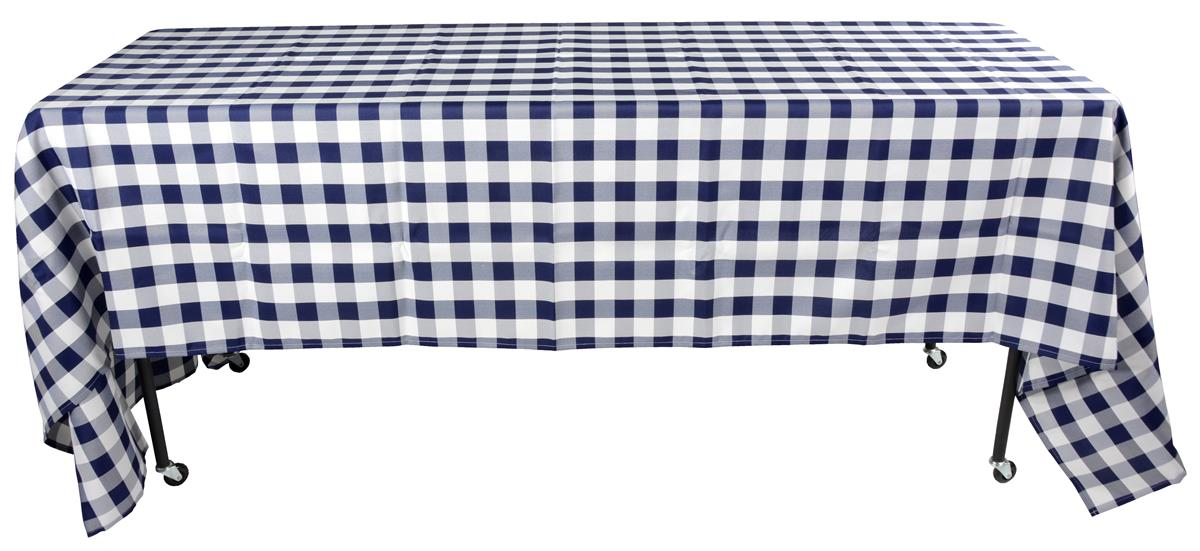 Checkered Table Cloth Blue Amp White Polyester Cover