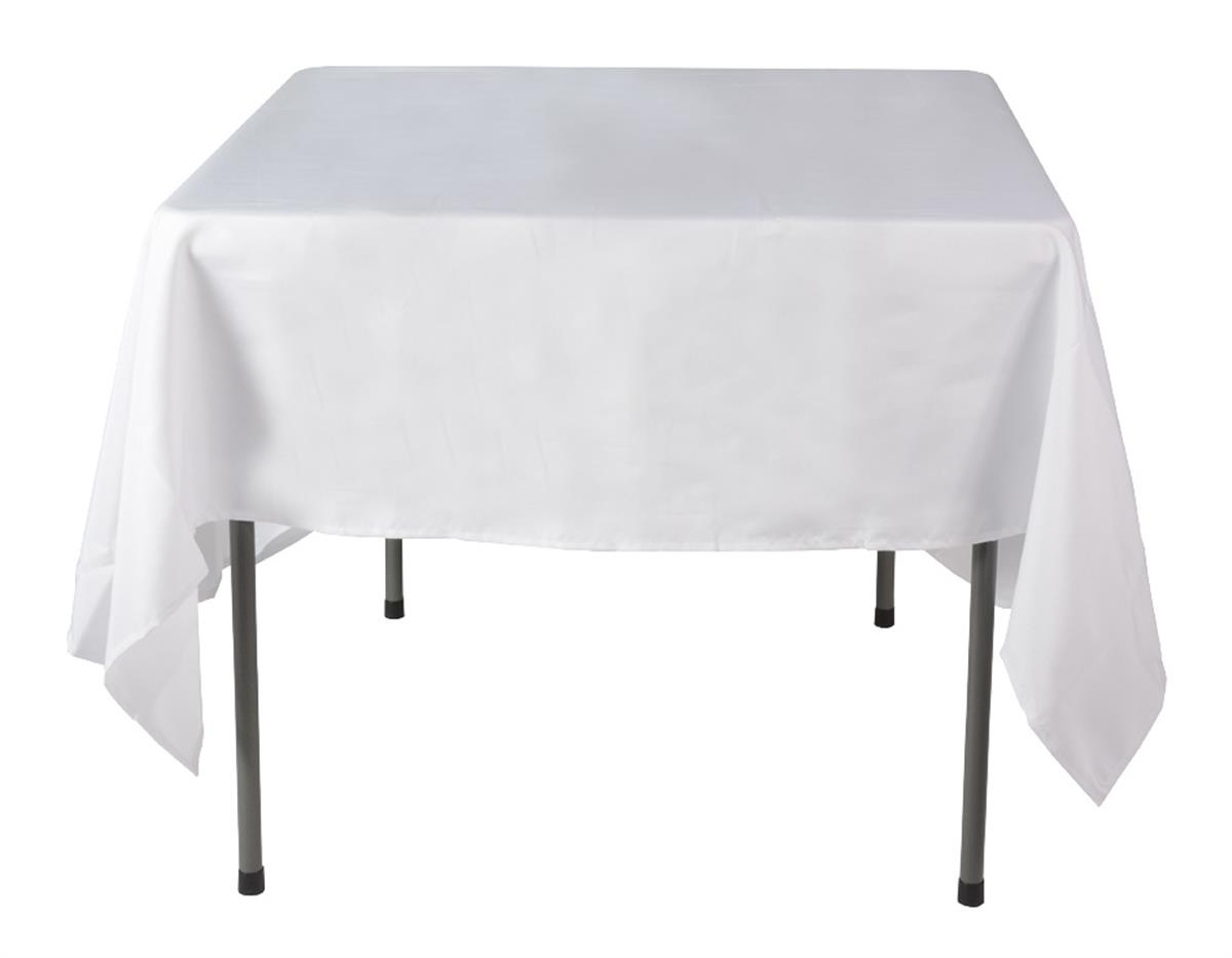 White restaurant tablecloths 70 x 70 tabletop display for Restaurant table menu